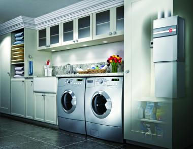 Rheen Condensing tankless water heater in laundry room
