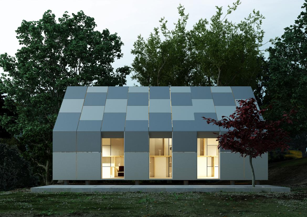 ClipHut Structural Building System Completed house evening shot