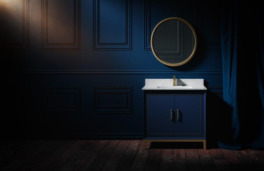 BEMMA Luxury Vanity Collection Gracie Model in Blue bathroom installation