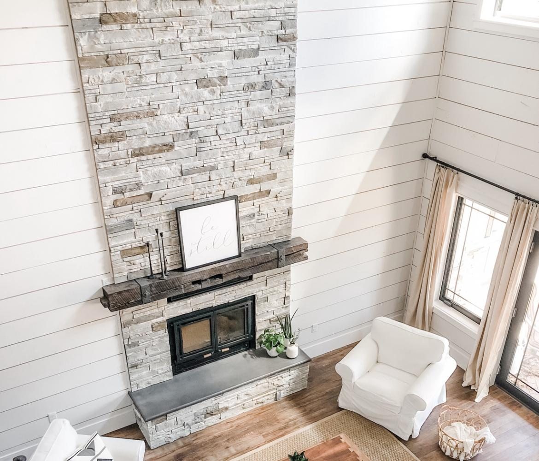 Boral Versetta Stone Northmade Fireplace Beadboard White Chair