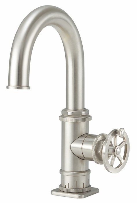 California Faucets Steampunk Bay Single Hole Wheel Handle Satin Nickel