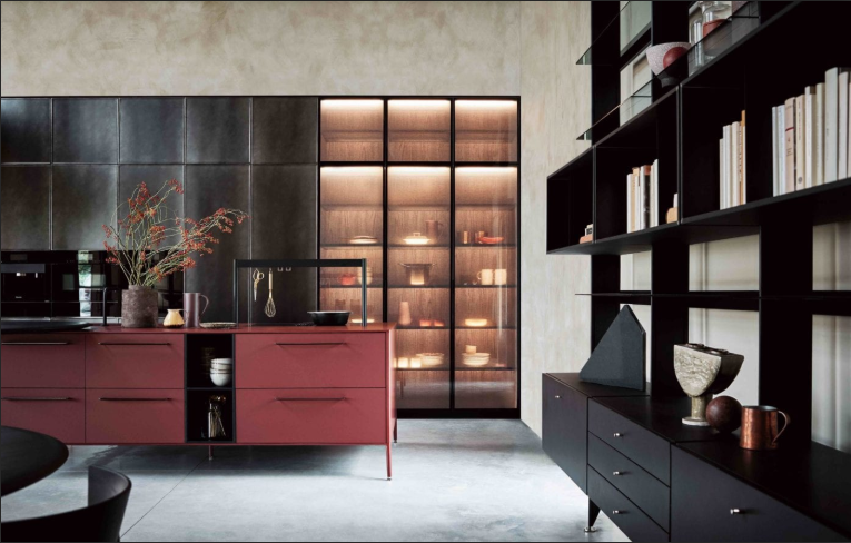 Cesar NYC Unit Kitchen Red Fenix angle