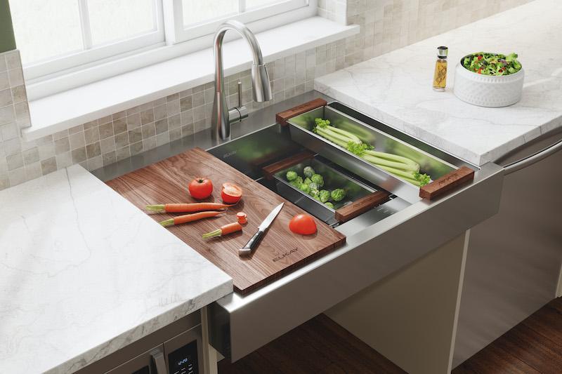 Chopping veggies in darty canyon ADA-Compliant Farmhouse Sink by Elkay