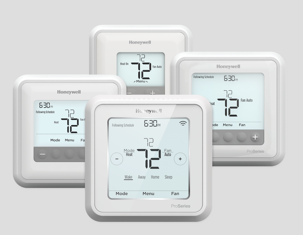 The T Series connected and non-connected thermostats are designed with contractor efficiency and customer comfort in mind. The Lyric T6 Pro Wi-Fi model offers faster installation, optional ventilation control, auto changeover to heating or cooling, and the ability to learn a home's heating and cooling cycles.