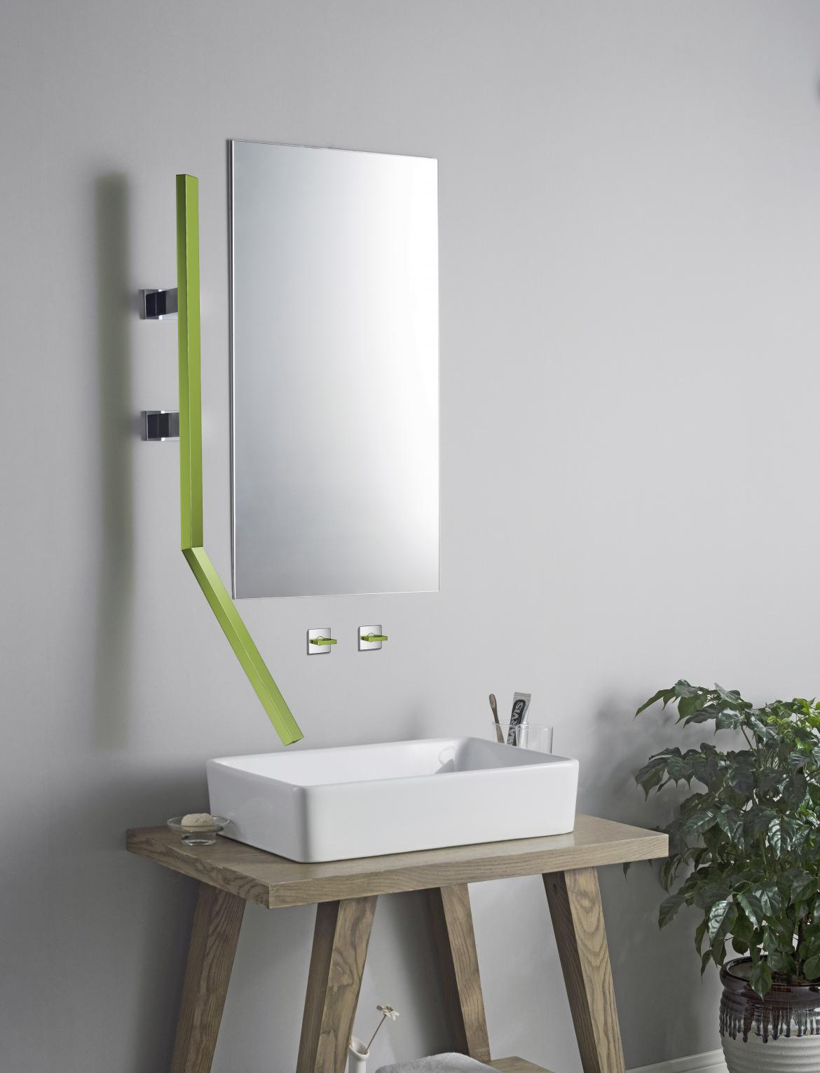 Isenberg Infinity wall mount bath faucet Color Green installed