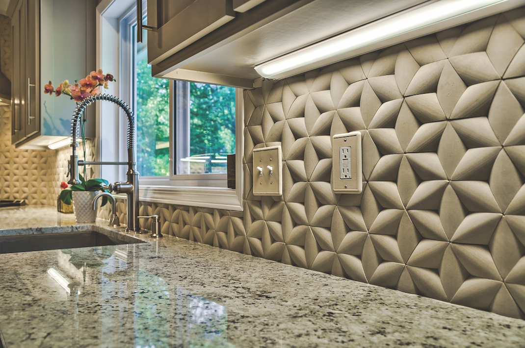 IslandStone ParagonHex backsplash with faucet