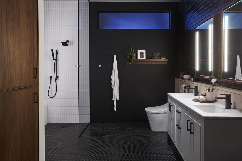 Kohler Smart Bathroom Black Walls White Tiles