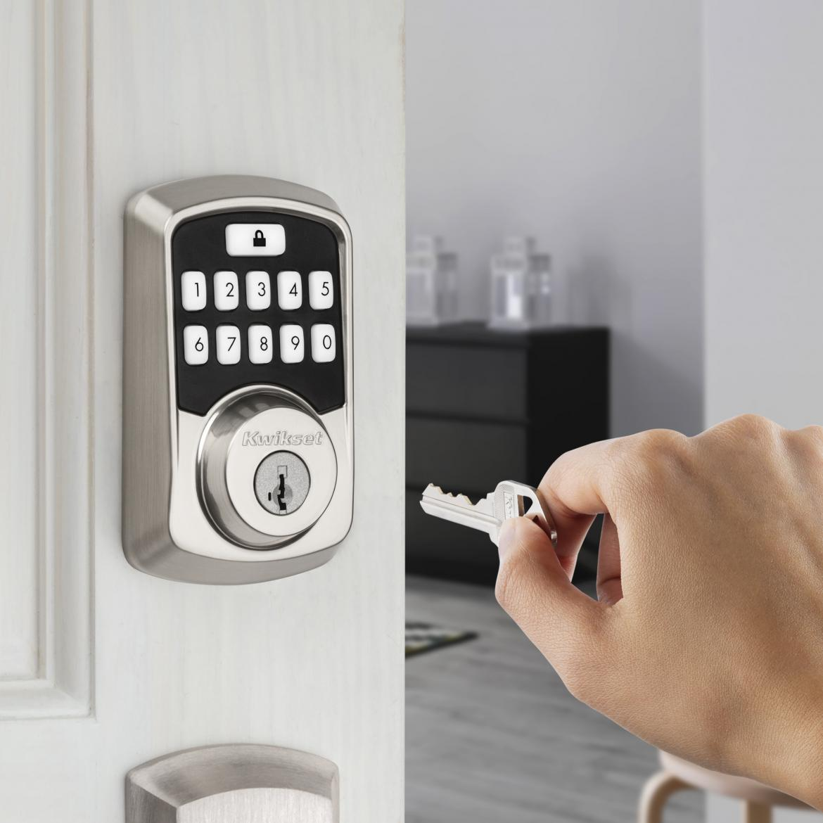 Kwikset Aura Affordable Smart Lock Exterior With Hand Key Satin Nickel