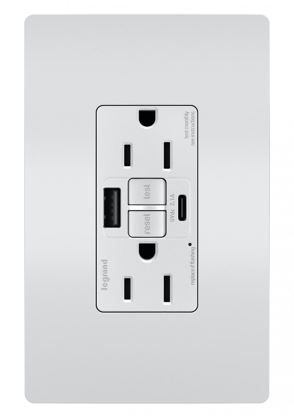 Legrand GFCI USB outlet silver
