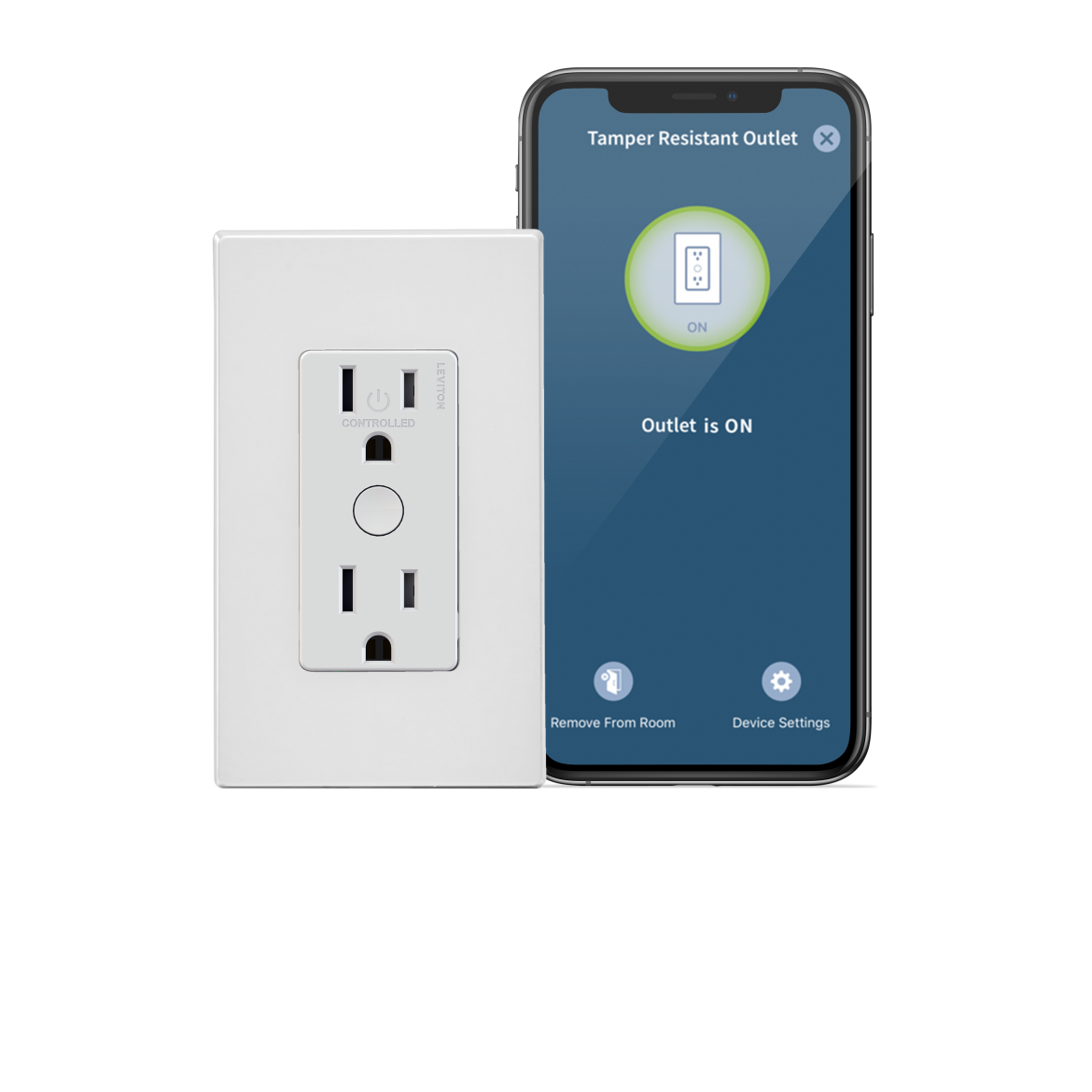 Leviton Decora Smart Wi-Fi Tamper Resistant Outlet with Cell phone