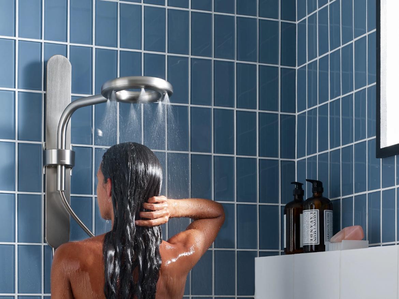 Moen Nebia Showering System bath woman showering