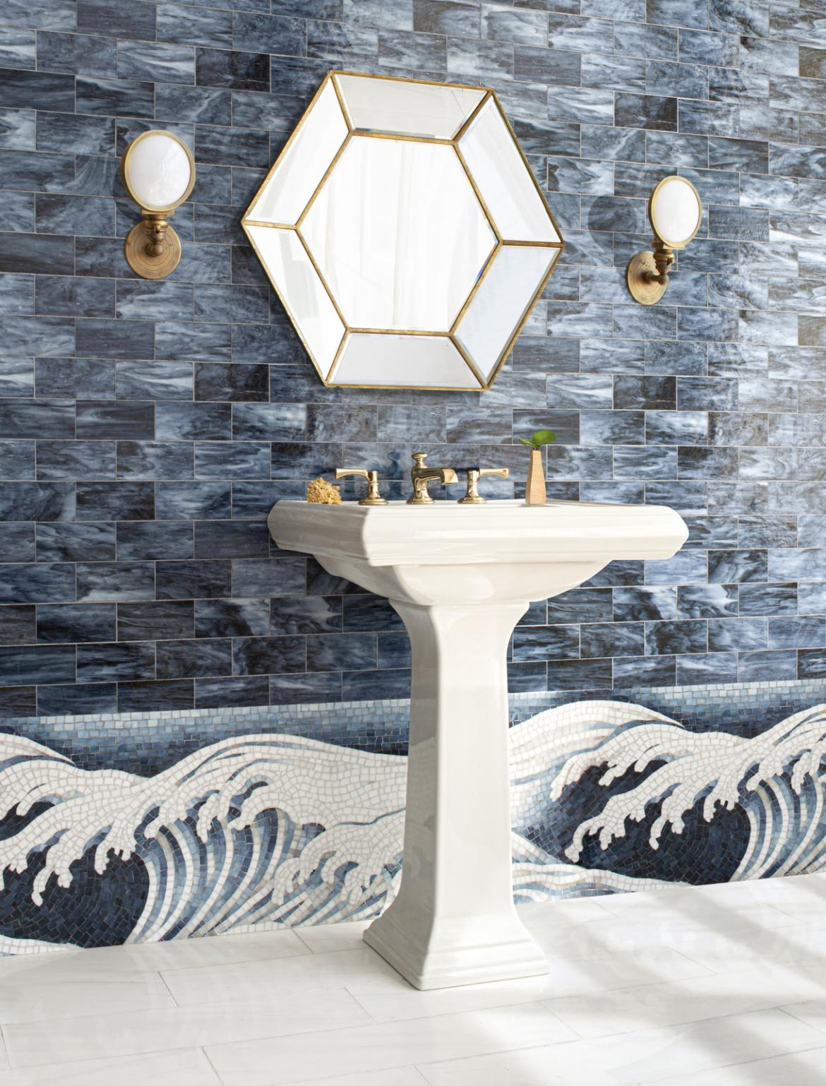 New Ravenna Gracie Collection Hand Painted Glass Mosaics Waves