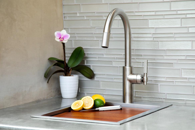 Newport Brass Muncy Pull Down Kitchen Faucet Stainless Steel PVD sink flower