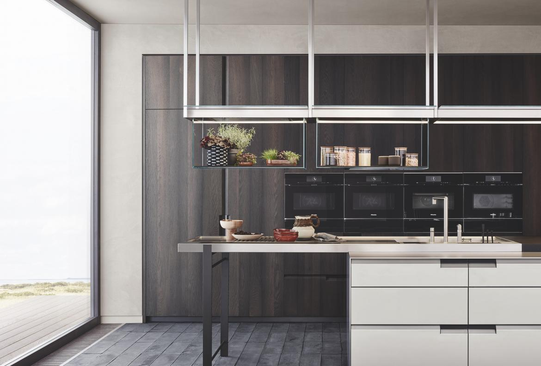 POLIFORM Shape Integrated Kitchen Concept Wide view oak cabinets