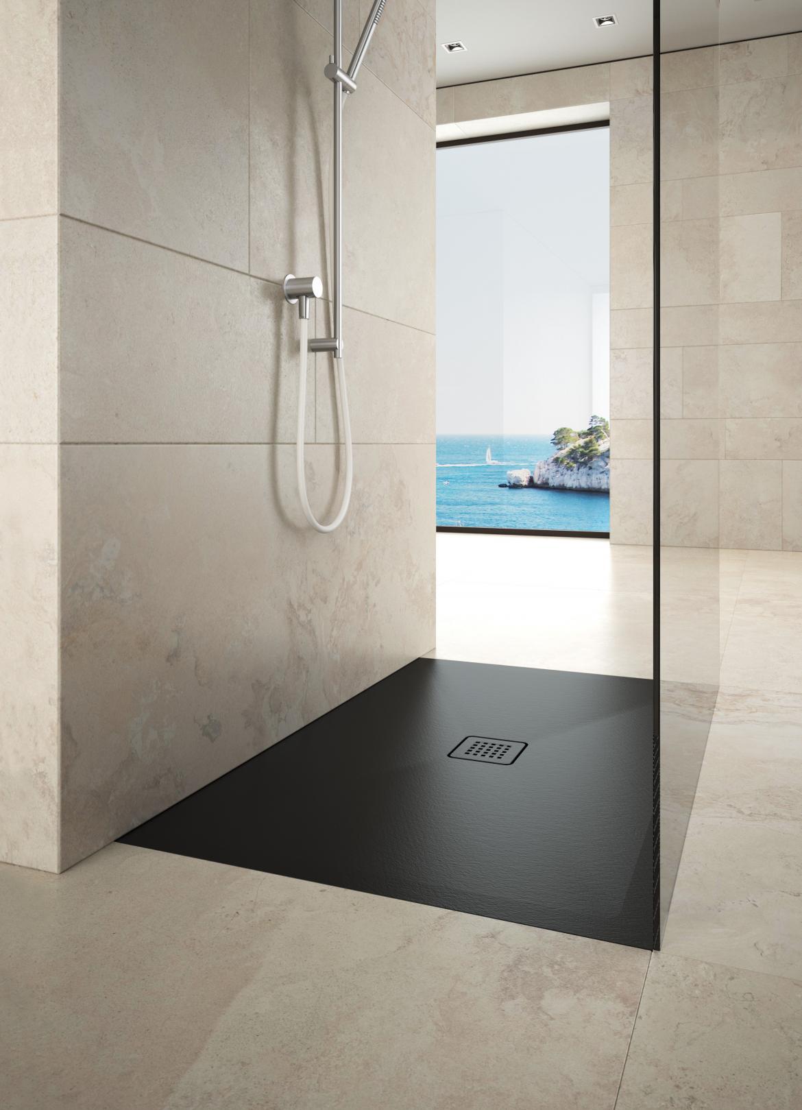 Scarabeo STEP ceramic shower pan angled bath
