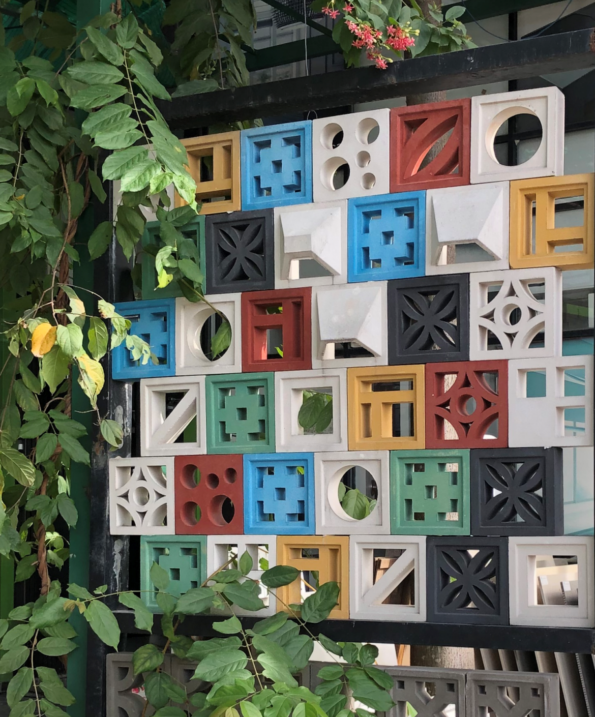 Villa Lagoon Tile Breeze Block mid century modern decorative concrete block color display