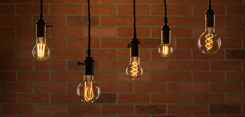 Feit Electric's LED Original Vintage Glass light bulbs shown in pendant lights