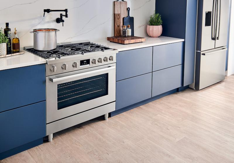 Bosch Industrial Style Ranges beauty shot with blue cabinets