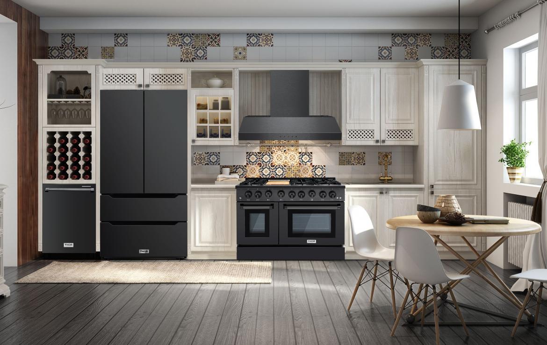 Thor Kitchen Black Stainless Steel Suite White Kitchen