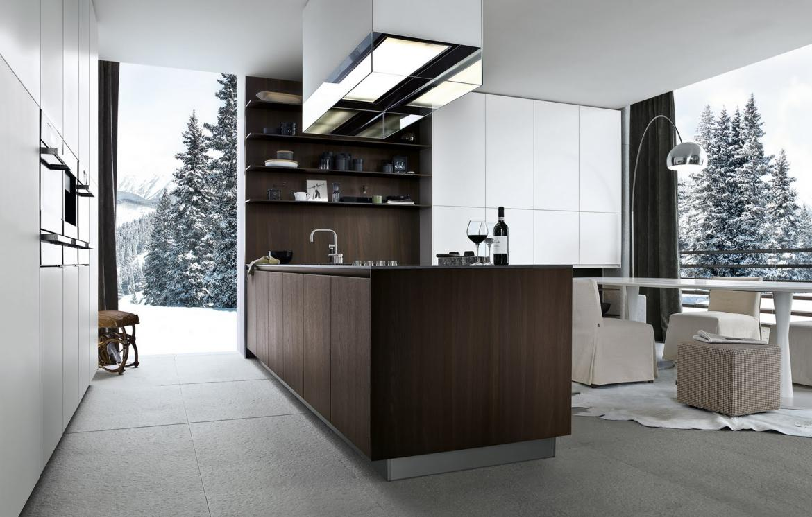 Dark-brown cabinets from Poliform, one of several cabinet brands