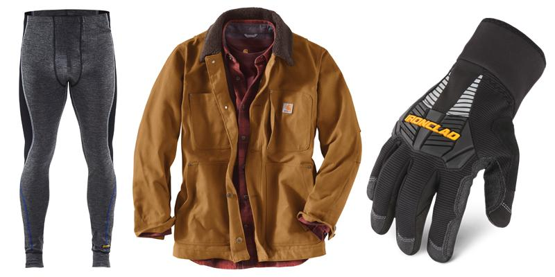 Coat, gloves, and long underwear