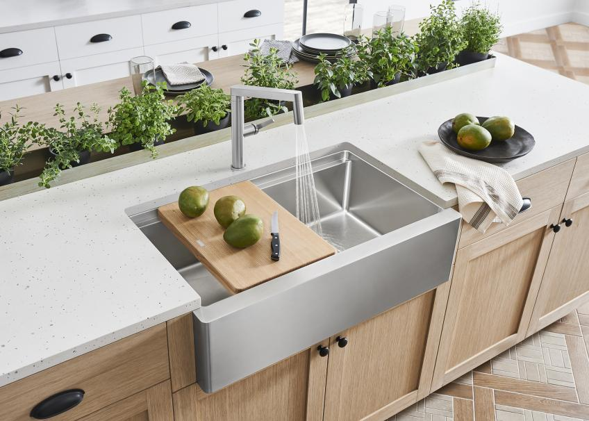 Blanco Quatrus R15 Ergon stainless steel Modern Farmhouse Sink wood cutting board