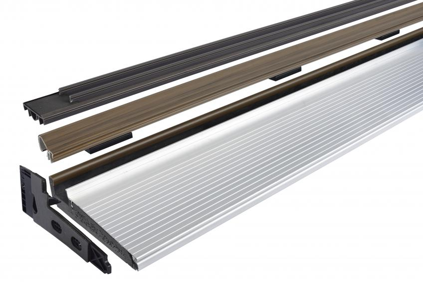 The Z-Articulating Cap Sill reduces the likelihood of door unit failure and costly service calls, the manufacturer says. It consists of an articulating cap, integrated end-sealing assemblies, and door bottom, eliminating the need for caulking. The cap has a living hinge and redundant spring assemblies that compensate for the variations in margins between the door and the sill.