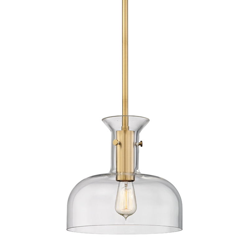 The Coffey features a thick glass shade that highlights a long candlecup. This transparency, the company says, makes the various layers visible. It comes in aged brass and polished nickel.