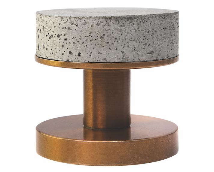 Designer Doorware Bullet and Stone Concrete Niki Knob weathered brass