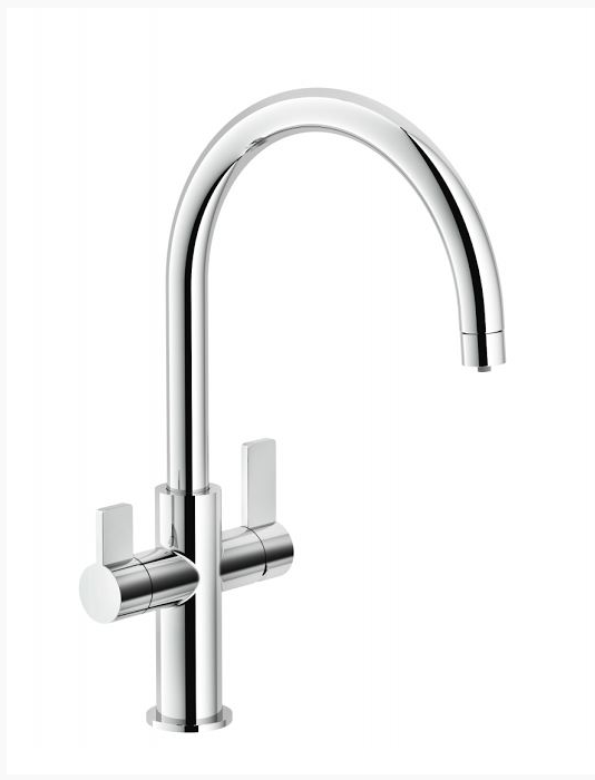The Ambient 3-in-1 filter faucet produces hot, cold, and filtered water from one unit. It also is compatible with the company's new filtration app, which uses a Bluetooth connection to monitor filtered water usage; when 600 gallons of water pass through the unit, the app will alert homeowners to change the filter. It's available in chrome and satin nickel.