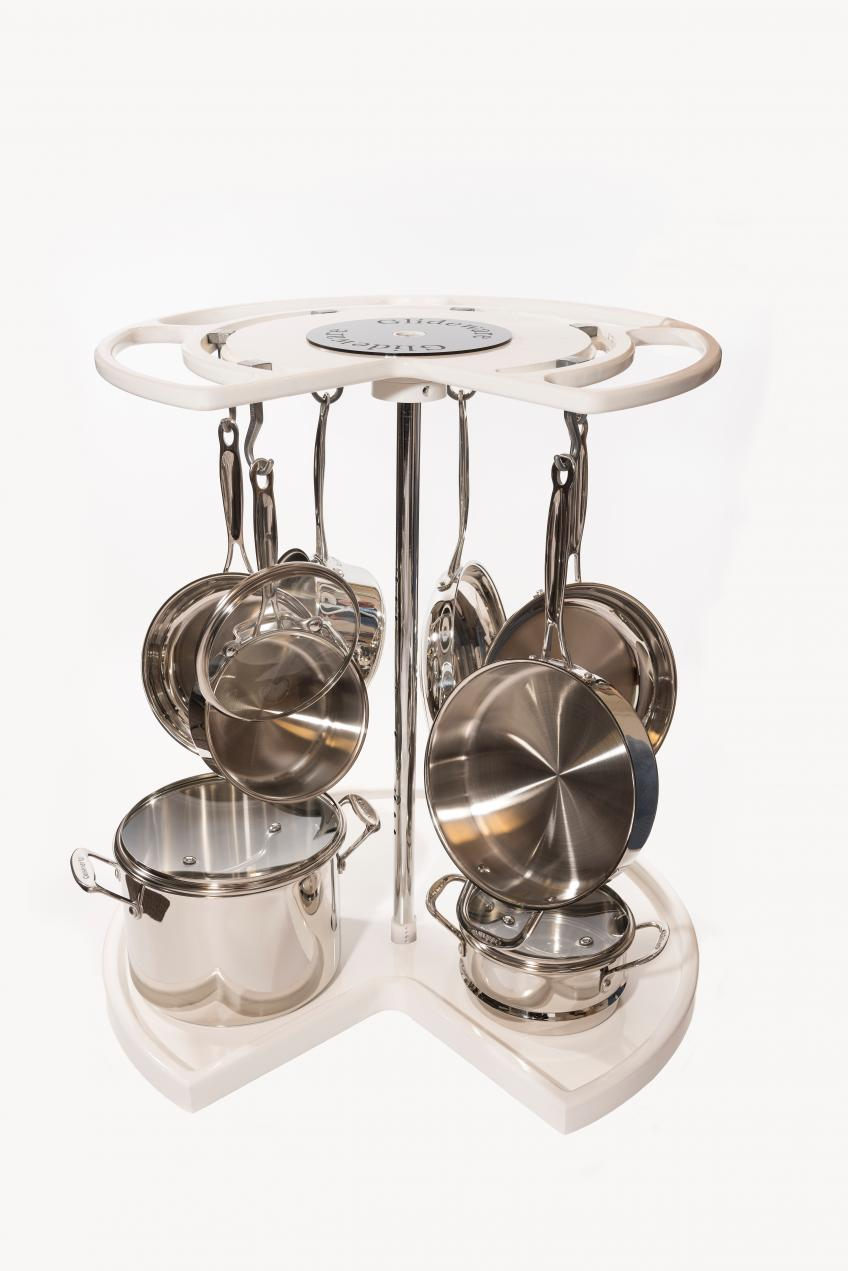 The Not-So-Lazy-Susan uses the entire corner cabinet storage from top to bottom, giving homeowners fingertip access to cookware and helping them avoid needing to stack and scratch pots and pans. The product comes with a variety of hooks in several finishes.
