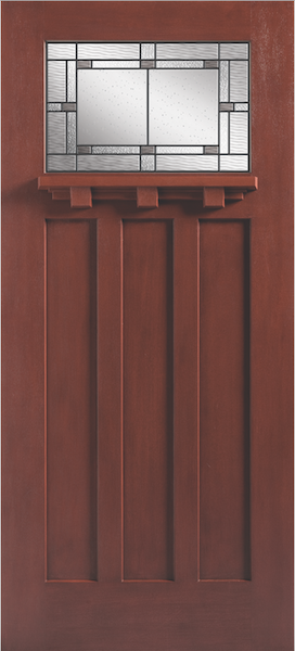The new fiberglass entry door combines two popular styles to complement traditional and modern homes. Available in oak and mahogany textures, the Craftsman-style door features Barrington's recessed flat three-panel design and Marco textured glass with antique black caming. Doors measure 36 by 80 inches with sidelites of 12 by 80 inches or 14 by 80 inches.