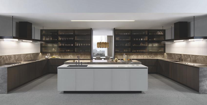 Poliform Alea Plus custom kitchen cabinet concept system