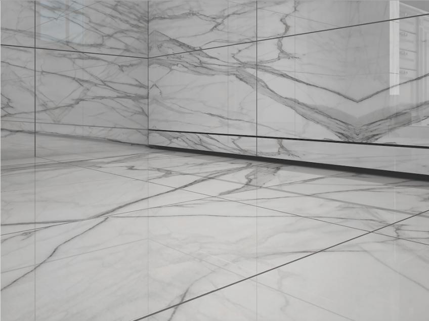 QuickDrain USA WallDrain Black White Marble Installation