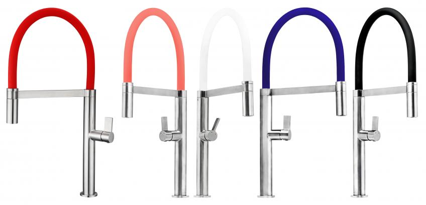 Made from stainless steel, the Ibiza faucet measures 20 inches tall with a spout reach of 9 inches. The flexible spout also pulls down to access the far corners of the sink. Available colors include pure white, jet black, ruby red, ocean blue, navy blue, and coral pink.