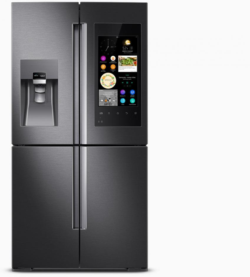 Samsung has introduced a new smart refrigerator that features a Wi-Fi touchscreen that lets family members connect with each other, manage food, and entertain. The unit displays calendar, notes, recipes, weather, and more. A built-in interior camera allows you to look inside the fridge remotely, so a homeowner may create shopping lists or order groceries. Finally, the unit lets homeowners stream news, music, and TV. It will be available this spring.