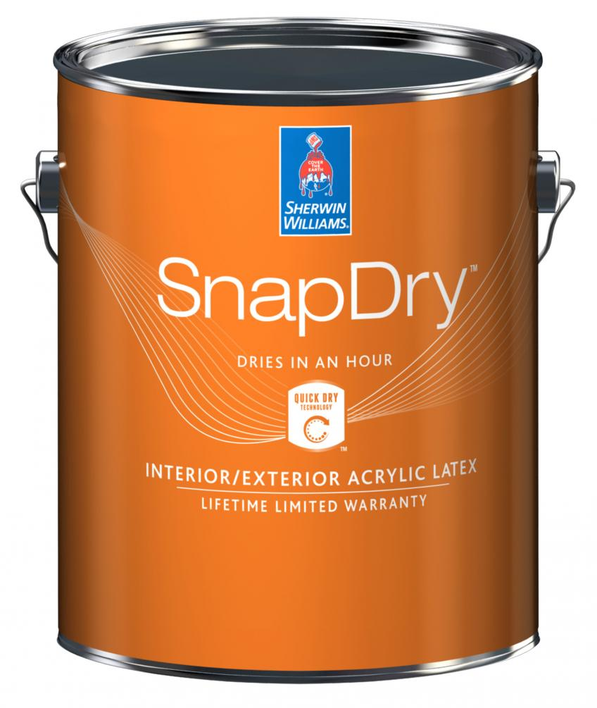 SnapDry is a new water-based door and trim paint that dries in one hour. Formulated for door and window projects, the exterior acrylic latex paint is resistant to dirt, fingerprints, UV rays, and weathering, the company says. It's available in semi-gloss and in a wide variety of colors