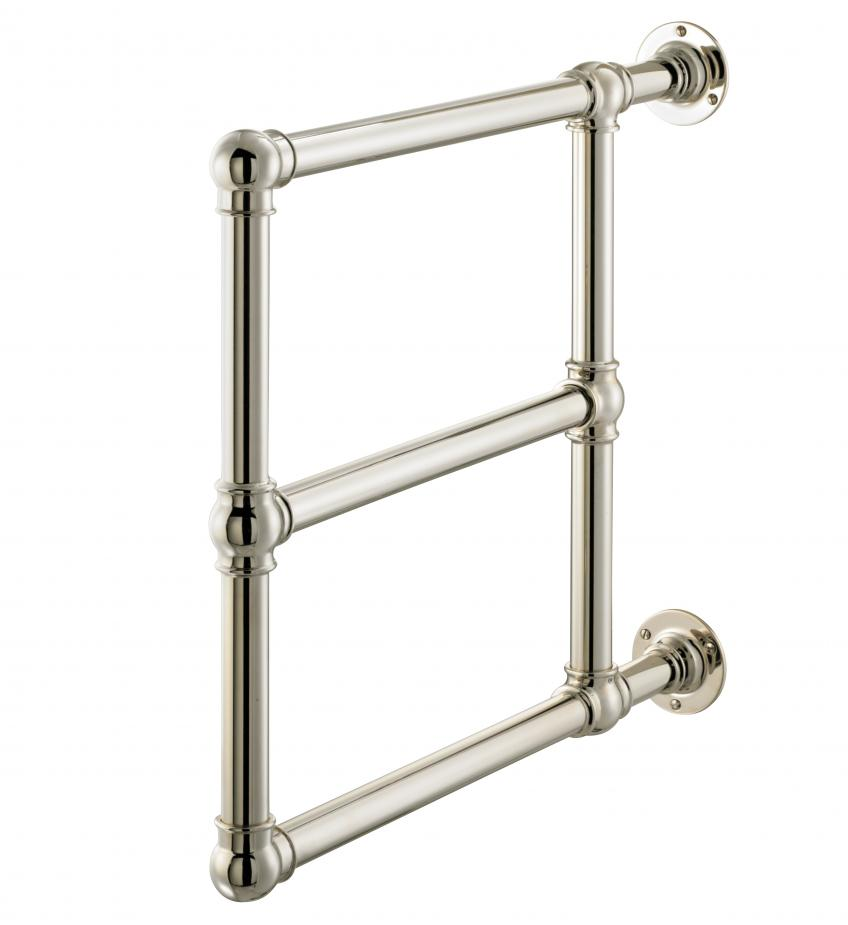 the Bewdley towel warmer is a compact unit that has been engineered to fit in tight spaces. Though it's available in custom sizes and configurations, the standard-sized product has a wall-mount diameter of 88 inches. It's available in standard finish options such as polished brass, polished chrome, and matte nickel, as well as custom finishes.