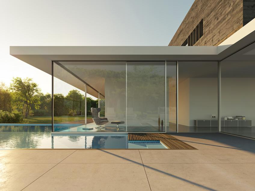 Nanawall unveils ultra high end minimal sliding glass for A line salon corte madera