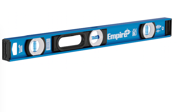 Available in sizes ranging from 24 to 78 inches, the e55 Series True Blue I-beam level offers high-contrast and high-impact acrylic e-Band vials. Additional features include an all-metal frame, impact-resistant end caps, and a top-read window for clear overhead viewing.