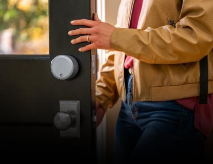 August Wifi Smart Lock Hero Image adult coming home