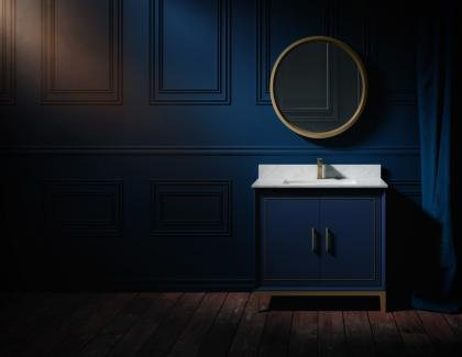 BEMMA Luxury Vanity Collection Gracie Model in Blue bathroom installation