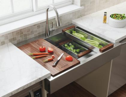 Chopping veggies in darty canyon ADA-Compliant Farmhouse Sink by Elkay