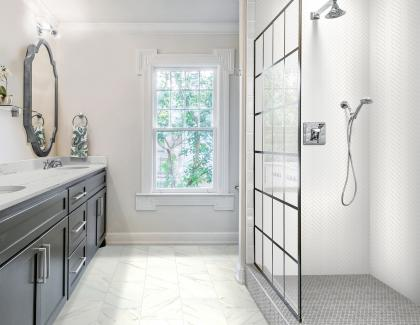 Daltile RevoTile Carrara White Bathroom