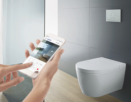 Duravit SensoWash f Shower Toilet Philippe Starck smart phone