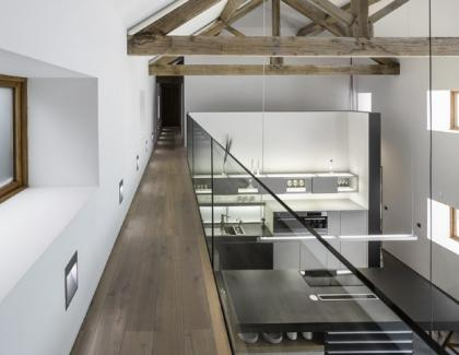 Havwoods International barn conversion smoked oak wood flooring walkway
