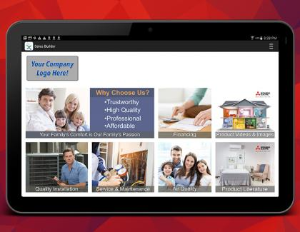 Mitsubishi Electric Trane HVAC US Improved Sales Builder Pro Mobile App