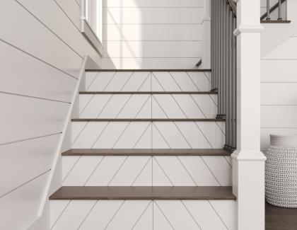 Ornamental Mouldings Millwork Reversible Stair Treads Chevron Staircase