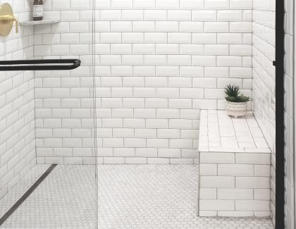 QuickDrain subway tile shower bench