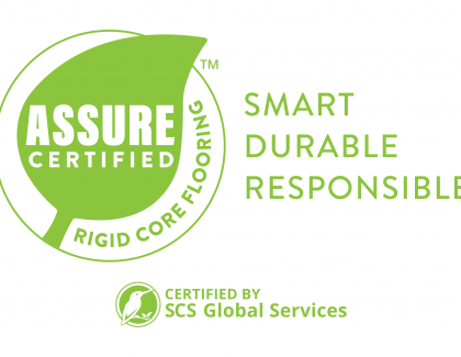 Resilient Floor Covering Institute ASSURE CERTIFIED Logo with Tagline and SCS co brand